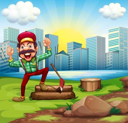 강둑: Illustration of a man chopping the woods at the riverbank across the buildings