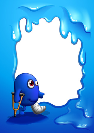 Illustration of a border design with an injured blue monster Vector