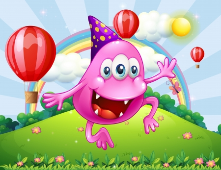 beanie: Illustration of a happy pink beanie monster jumping at the hilltop Illustration