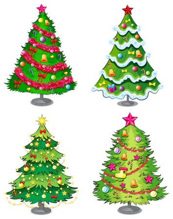 tree decorations: Illustration of the four christmas trees on a white background Illustration