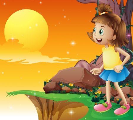 noontime: Illustration of a young girl amazed by the sky