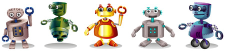 Illustration of the different robot designs on a white background Vector