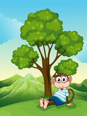 Illustration of a tired monkey resting under the tree at the hilltop Vector