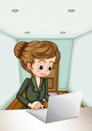 formal attire: Illustration of a serious businesswoman using the laptop