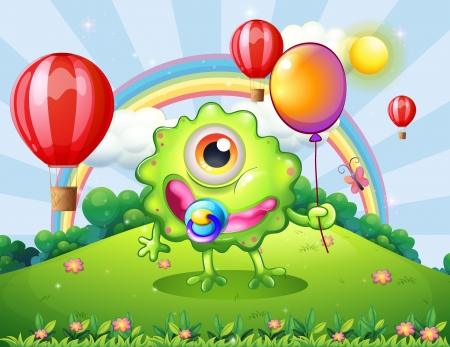 hilltop: Illustration of a baby green monster at the hilltop with a rainbow Illustration