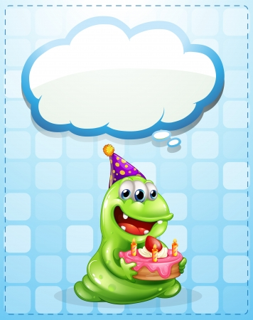 Illustration of a green monster with a cake thinking Vector