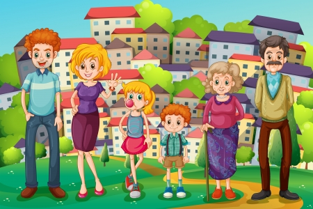 house wife: Illustration of a hilltop with a big family Illustration