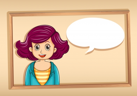 thinking bubble: Illustration of a frame with a woman having an empty callout