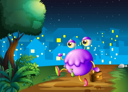 Illustration of a purple monster holding a bag walking in the middle of the night Vector