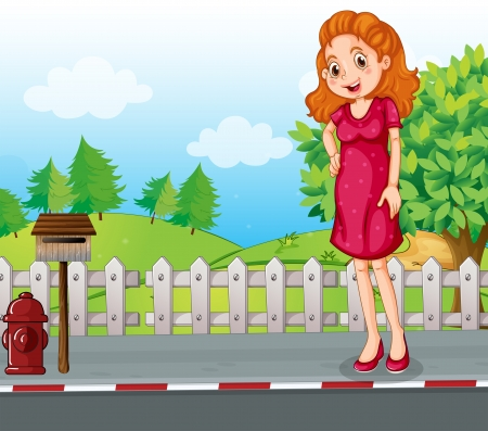 metal mailbox: Illustration of a woman at the roadside near the wooden mailbox