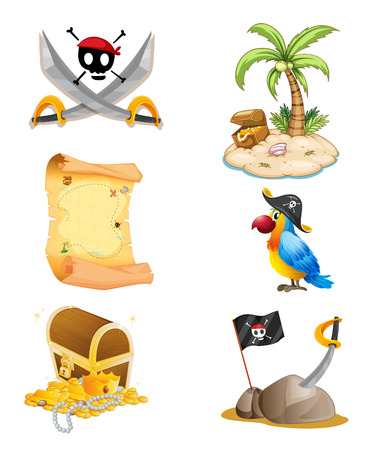 sombrero pirata: Ilustración de las cosas relacionadas con un pirata en un fondo blanco