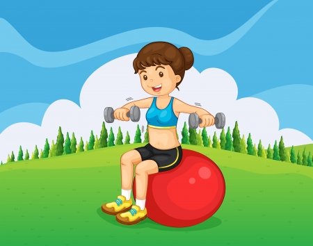 yoga outside: Illustration of a girl exercising with a barbell and a bouncing ball