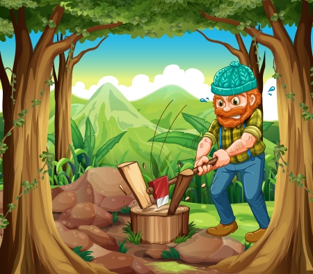 jungle plants: Illustration of a woodman chopping the woods in the forest near the rocks