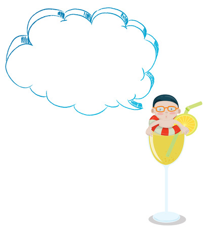 Illustration of a young boy inside a glass with an empty cloud template on a white background Vector