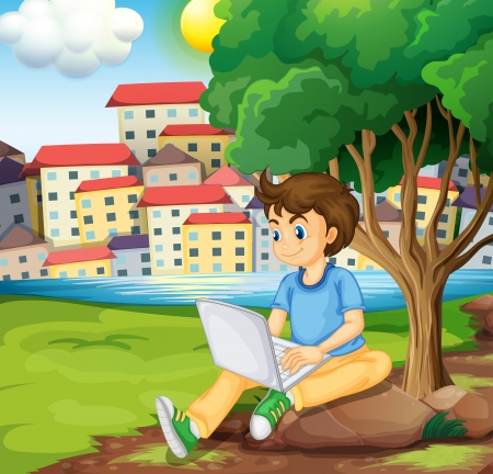 laptop outside: Illustration of a young boy using the laptop under the tree at the riverbank