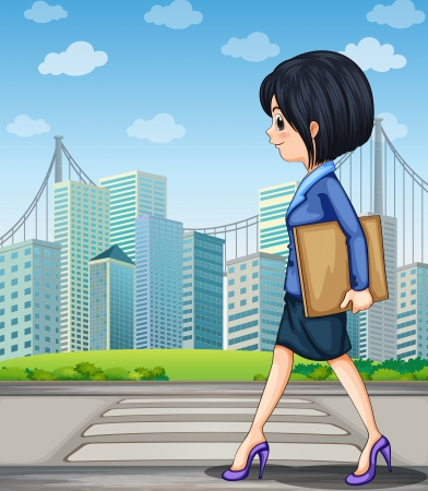 sideview: Illustration of a woman walking at the street near the pedestrian lane