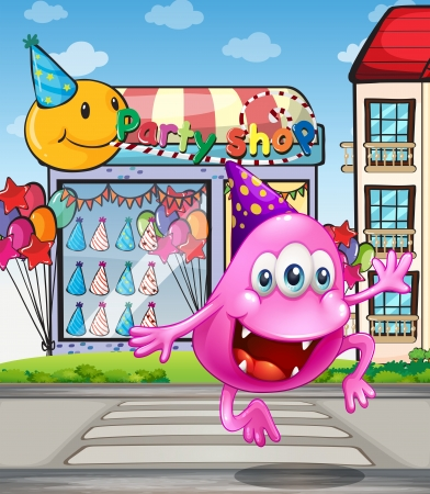 beanie: Illustration of a happy beanie monster jumping in front of the party shop
