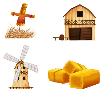 cartoon wind: Illustration of the barn houses, hays and a scarecrow on a white background