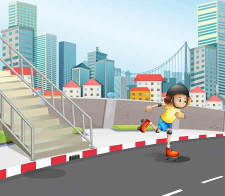 concrete stairs: Illustration of a young girl skateboarding at the road