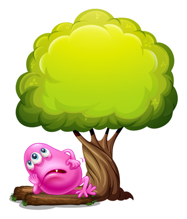 Illustration of a fat pink beanie monster resting under the giant tree on a white background Vector