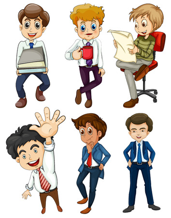 m�nner business: Illustration der sechs Gesch�ftsleute auf wei�em Hintergrund