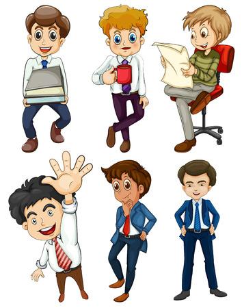 Ilustración de los seis hombres de negocios en un fondo blanco Foto de archivo - 22894454