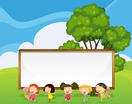 아이 춤의 뒷면에 큰 빈 간판의 그림