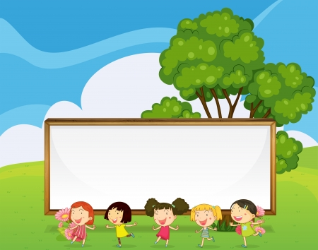 Illustration of a big empty signboard at the back of the kids dancing