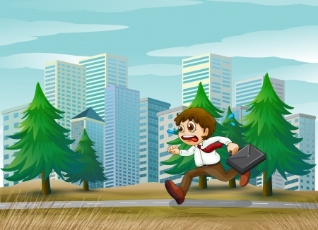Illustration of a man running hurriedly Vector