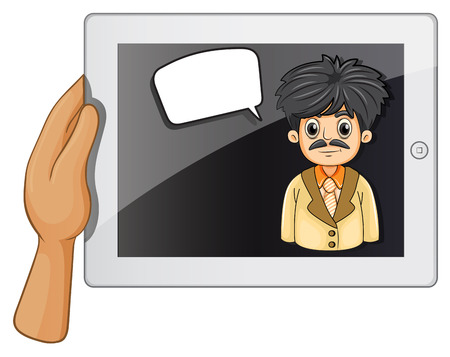 unfriendly: Illustration of a man inside a gadget with a rectangular callout on a white background
