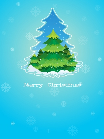 Illustration of a blue christmas card template with a pine tree in the middle Vector