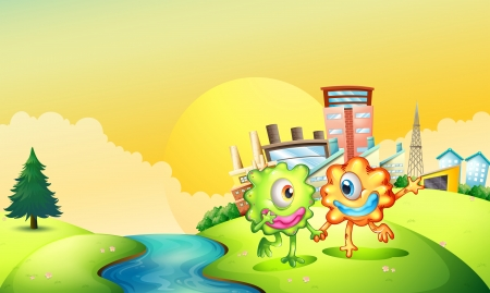 Illustration of the two one-eyed monsters playing at the riverbank Vector