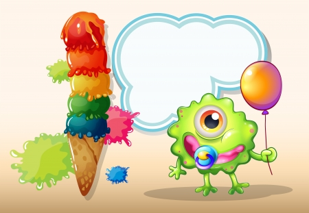 Illustration of a young green monster with a balloon standing near the giant icecream Vector