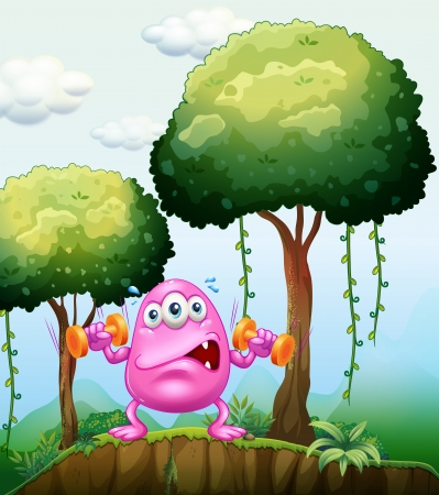 Illustration of a monster exercising in the forest Vector