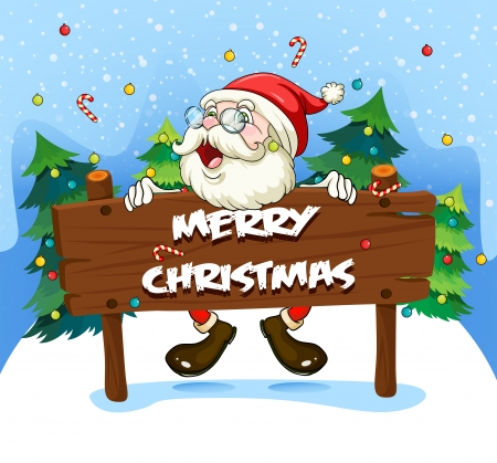 cartoon present: Illustration of Santa Claus at the back of a wooden signboard Illustration