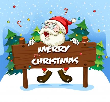 wooden signboard: Illustration of Santa Claus at the back of a wooden signboard Illustration