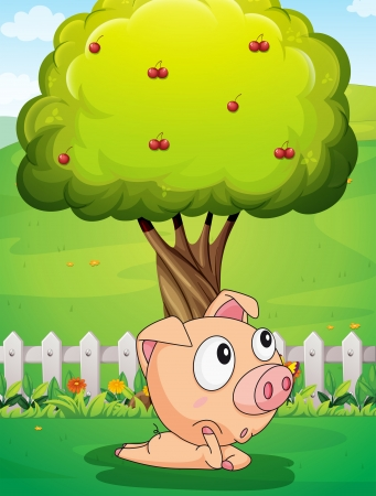 Illustration of a pig under the tree Stock Vector - 22894475