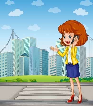 Illustration of a lady with a cellphone standing at the pedestrian lane Stock Vector - 22894476