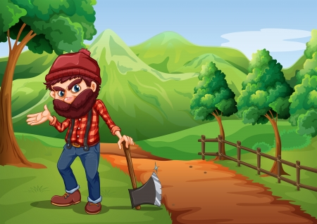 Illustration of a woodman holding an axe at the pathway near the wooden fence Vector