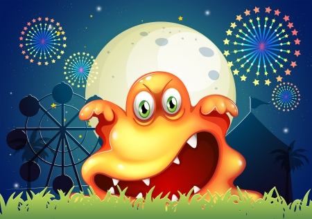 Illustration of an amusement park with a scary orange monster Vector