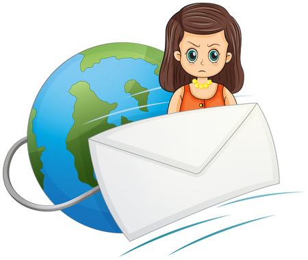 unfriendly: Illustration of a globe with a wired envelope and an angry woman on a white background