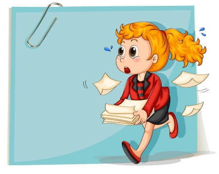 Illustration of a woman running while carrying some documents on a white background Illustration