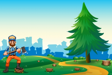 hilltop: Illustration of a hilltop with a hardworking woodman holding an axe