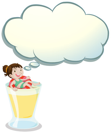 callout: Illustration of a happy girl enjoying above the glass with an empty callout on a white background