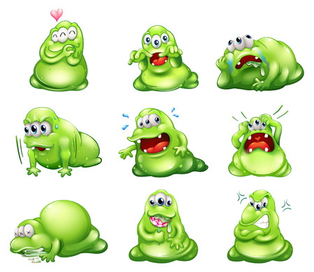 poisoned: Illustration of the nine green monsters engaging in different activities on a white background