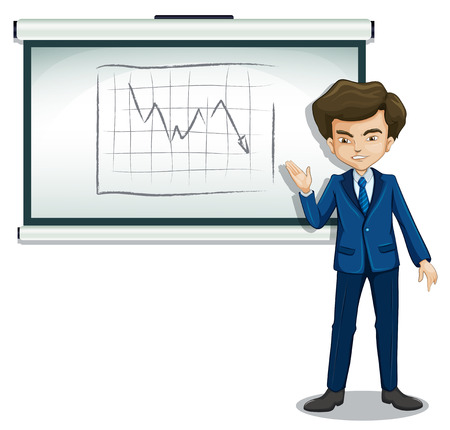 explaining: Illustration of a businessman explaining the graph in the bulletin board on a white background