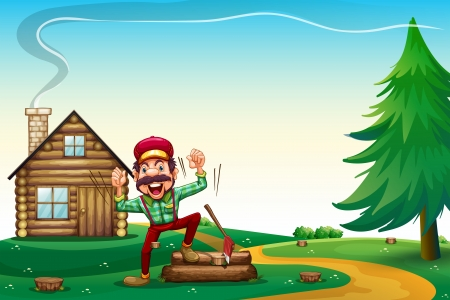 hilltop: Illustration of a hilltop with a happy lumberjack cheering Illustration