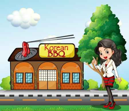 Illustration of a girl in front of the Korean BBQ store Vector