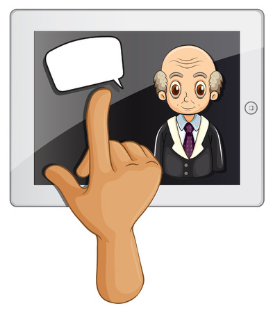 Illustration of a computer gadget with a hand touching on a white background Vector
