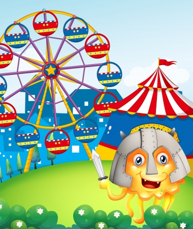 Illustration of a hill with a carnival and a brave monster Vector